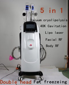 En Yeni Vakum Cryolipolysis Makine 5'TEKİ 1 Çift Cryolipolysis Fonksiyonlu Yağ Freeze zayıflama makinesi Lipo Lazer 40K Kaviteleşmeyi kolları