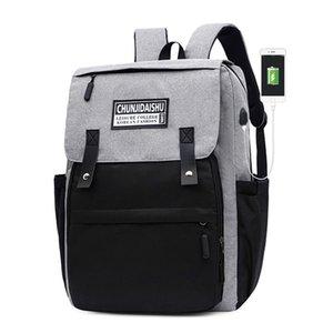 USB Uomini zaino grandi sacchi Patchwork scuola per ragazzi teenager 17 Inch Laptop Back Pack Oxford nero Studente di college Bagpack