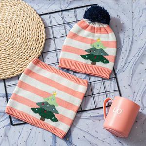 아기 크리스마스 스카프 볼 모자 어린이 크리스마스 트리 스트라이프 스카프 모자 눈사람 니트 비니는 두개골 목도리 LJJA3555 캡 따뜻한 설정