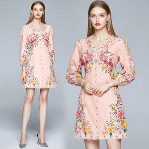 Puff Kol Kız Elbise Uzun Kollu V yaka Üst düzey Yaz Sonbahar Elbise Moda Noble Palace Baskılı Lady Elbise
