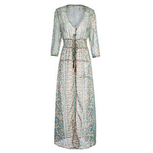 Femmes d'été vintage Flora robes imprimées V-Neck lambrissé Empire Tassé Robe-parole longueur Sexy Hot Vêtements S-4XL