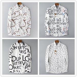 luxo roupas de grife Além disso Designer Tamanho 3XL Primavera camisa dos homens alta Clássico qualidade formal geométrica da manta de manga comprida camisas de vestido dos homens