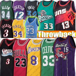 Throwback 23 Michael Jersey Ray Allen Vince Carter Iverson Jersey Steve Larry Nash Uccello Jersey ONeal di Grant Hill Stockton Tar Heel Pallacanestro