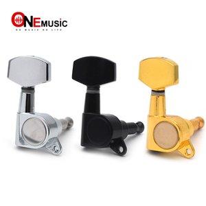 Büyük Kare Elektro Gitar Siyah / Altın / Chrome için Gitar Tuning Pegs tuşları Tunerleri Makine Başkanlarını Mühürlü