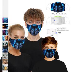 2020 en stock Cartoon Anaimal Loup Cat Face Mask avec 2pcs filtres Masque Party extérieur PM2,5 Imprimé 3D Coton Visage Boom2016