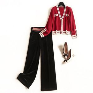 2020 Frühlings-Sommer-Langarm V-Ausschnitt Strick Panelled Cardigans Sweater + Panelled Wide Leg-Hose-Hosen Zwei Stück 2 Stück Set OM2713413