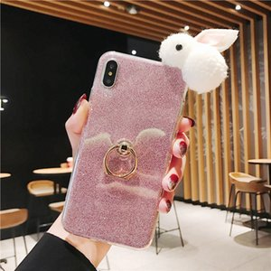 Cute Rabbit Bunny Soft TPU Rhinestone Ring holder Phone Case for iPhone 6 7 8 Case Diamonds Bling TPU Soft Phone Cover