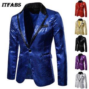 Festa de casamento New Crystal Fashion Blazers Mens Esposo terno Sequins Mostrar Blazer lapela Brasão de Slim Jacket