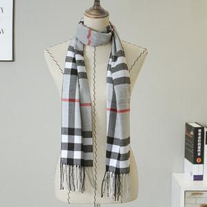 Bufanda de la tela escocesa de la cachemira de los hombres Invierno Cálido Moda Enrejado Bufanda de la borla Párrafo largo Color salvaje del mantón Plaid