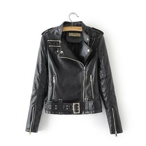 New Spring Autumn 2019 Women Black Leather Jacket Slim Punk Style Long Sleeved Snakeskin Print Short Coats Ladies Biker Jackets