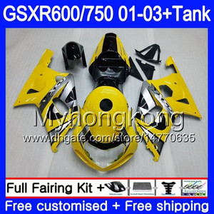 +Tank For SUZUKI GSX-R750 GSXR 750 600 K1 GSXR600 01 02 03 294HM.3 GSX R600 R750 GSXR-600 hot Yellow silvery GSXR750 2001 2002 2003 Fairings