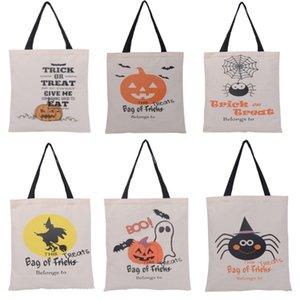 Neue halloween geschenk taschen baumwolle leinwand handtaschen für kürbis teufel spinne gedruckt halloween süßigkeiten geschenk sack taschen xd20689