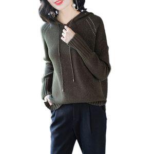 Donne maglione lavorato a maglia 2019 Autunno nuovo allentato con cappuccio pullover di alta qualità maglieria casual primavera moda selvaggio signora maglione Lj193