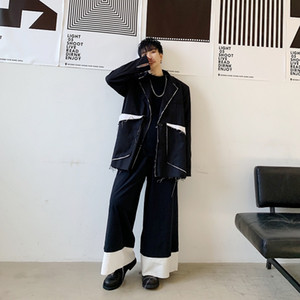 Men Vintage Japan Streetwear Punk Gothic Hip Hop Loose Casual Blazer Jacket Male Slit Splice Suit Coat Outerwear