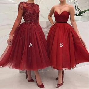 Vestidos de dama de honor con vestidos de bola de talla grande baratos 2019 Apliques de abalorios Una línea Vestidos de fiesta de invitados de la boda Vestidos de dama de honor