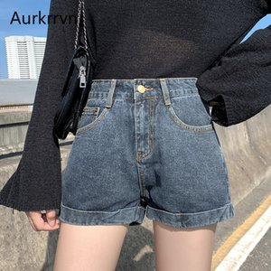 Aurkrrvn Harajuku Wide Leg Classic Denim Shorts for Female Solid Cuffs Roll Up Hem Office Lady Vintage Jeans Shorts Plus Size