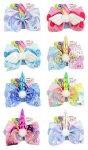"1 pieza 8 ""JoJo Clip Unicorn Star Heart Dots Imprimir arcos de pelo con clips Unicorn Horn Horn para las niñas Coloridas horquillas para el cabello Accesorio"