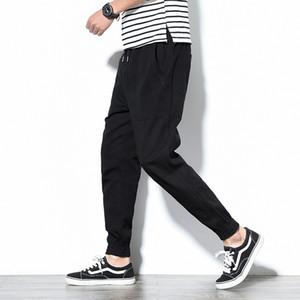 Frühling Mens Cargo Pants Cotton Bequeme feste Bleistift-Hosen mit Kordelzug Black Navy Khaki Gelegenheits Joggers Männer BINHIIRO 2019