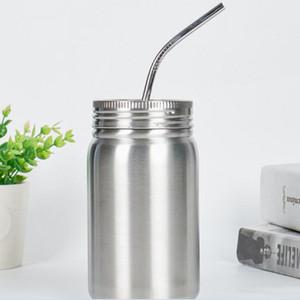 Vakuum-Cup Edelstahl Mode Mason Jar Einzel-Wasserflasche mit Deckel Straw Winter Heat Preservation Tumblers WY308Q