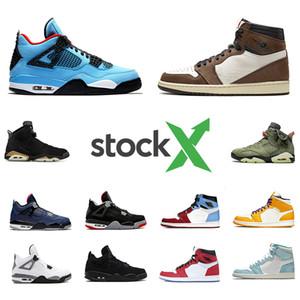 Stock 1 Travis Scotts 4s 4 zapatos de baloncesto del Mens X Bred 6s Spiderman Cactus Jack 6 de Fearless 1s Hombres Mujeres Deportes Diseñadores las zapatillas de deporte