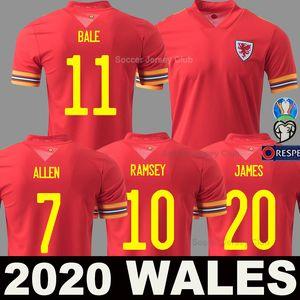 Euro 2020 Galles calcio maglia Coppa Europa via gialla 20 21 BALE ALLEN James Davies Wilson nazionale camicia Uomi bambini maglia di calcio