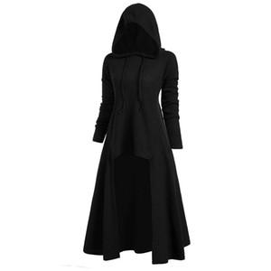 Femmes Mode capuche Plus Size Vintage Cape Haut Bas Pull Chemisier Tops Sweat Femme Pull Femmes Hiver chaud ventes T2 #