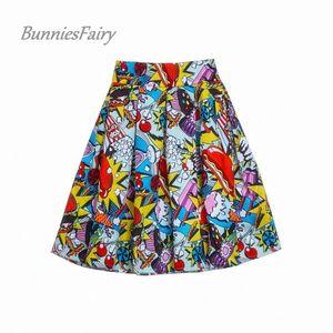 Bunniesfairy 2019 Women Streetwear Fashion Hot Dog Ice Hamburger Stampa High Tail Mini Skater Rock Casual Faldas Cortas Y19071501