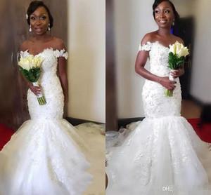 2020 Плюс Размера Mermaid Африканских Свадебных платьев плеча Винтажных кружевные черные девочки Nigeria арабского Пляж Платья Свадебной аппликация