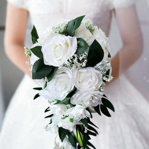 2019 Свадьбы Невеста капли вода Холдинг цветы Европейских свежие белые серии Сымитированного Rose Bundle Многоцветного Настраиваемая невеста Букет