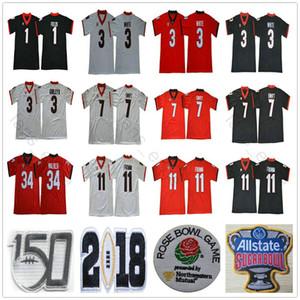 150 Yama NCAA UGA Gürcistan Bulldoglar Şekerlik Koleji 7 Dandre Swift 11 Jake Fromm 3 Zamir Beyaz Todd Gurley II 34 Herchel Walker Formalar