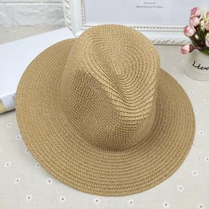 Moda cor sólida Straw Hat selvagem Verão Viagem Praia Cap Chapéu de Sol Straw Weaving Clássico Unisex New Chapéu de Sol 5 cores DBC VT0223