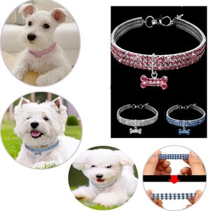Diamond Pet collier de chien de chat bling strass cristal Chiot Colliers Laisse collier de diamants colliers pour chiens Petit Moyen GGA3007-3