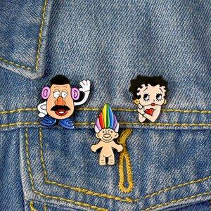 3pcs / set Broş ve İğne Cartoon simgeleri Stil Emaye iğneler Twisted Saat Kız Broş Denim Gömlek Yaka Pin Çanta Punk Serin Takı Hediye