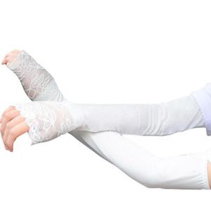 Fashion-Arm Warmers Femmes Écran Solaire Anti UV Extra Longue Dentelle Manchettes De Mode Multi-fonction de Haute Qualité Sans doigts Gants Manches