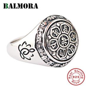 Mantra anelli per le donne gli uomini di barretta regali gioielli buddhista Balmora reale di 100% 925 Sterling Silver Six Words' Anelli SY20992