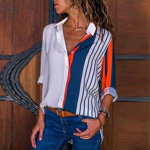 Blusas de las mujeres 2019 Camisa del bloque del color de rayas oficina de señora elegante de la blusa casual de manga larga botón de la camisa Tops Chemise Femme
