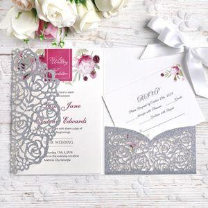2019 New Tri-Fold Silver Glitter Invitations Cards와 White Ribbon 대 한 웨딩 신부 샤워 약혼 생일 졸업 자 초대