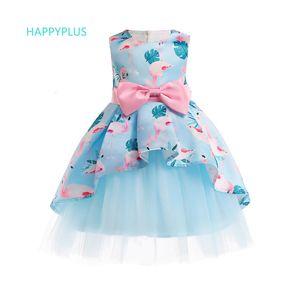 HAPPYPLUS فستان فتاة الزهور مساء عيد الميلاد السنة الجديدة للأطفال اللباس 3 4 5 6 7 8 9 10 سنوات اللباس فلامنغو للبنات PartyMX190912