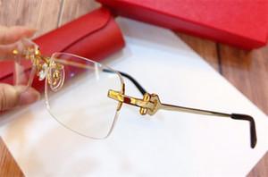 Fahion Eye Gözlük Reçete 280088 Çerçevesiz 18kgold Çerçeve Optik Gözlükler Şeffaf Lens Erkekler için Basit İş Tarzı