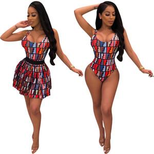 Mulheres sem mangas verão dress designer bodysuit + minissaia de duas peças vestido de moda de alta qualidade colheita top saia mulheres roupas klw1510