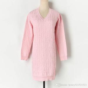 ispessimento modello di maglia jacquard con scollo a V autunno donne inverno manica lunga medie vestito maglione di colore solido lungo pullover S M L