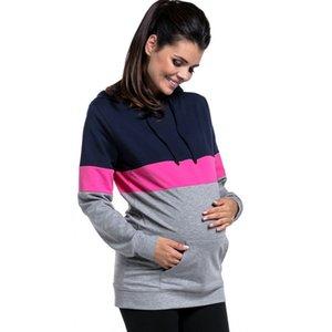 More Function Грудное вскармливание Одежда для кормления грудью Женщина с длинным рукавом для кормящих беременных Одежда для беременных Футболка для беременных Y190529