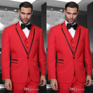 Красные свадебные мужские костюмы Custom Slim Fit жениха смокинги с отложным воротником из трех частей пиджака мужской пиджак (куртка + жилет + брюки + лук)