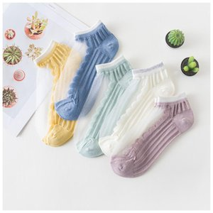 2020 Socks Female Spring Socks Japanese Summer Thin Glass Crystal Silk Transparent Ultra-Thin Sexy Silk Stockings Drop ship