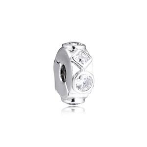 Новый 100% Real 925 стерлингового серебра шариков Геометрические фигуры Клип Pave Кристалл Charm для женщин DIY ювелирные изделия Изготовление FITS Pandora Браслеты