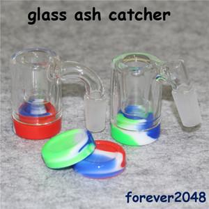 Atacado 45 de 90 graus de vidro Ash Catcher Bacias com 14 milímetros Masculino Bubbler junta de vidro Perc Adapter Silicone Container para Bongs Rig Dab