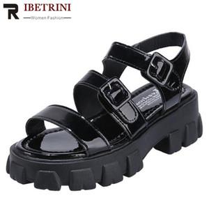 RIBETRINI Mujeres sólido verano zapatos de la hebilla Mujeres punta abierta cuñas de la plataforma gruesos sandalias 2020 sandalias del ocio informal