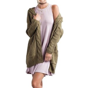 Autumn and Winter New Product 2019 Long Size Pure Pocket Sweater in Euro-American Wind Lady's Twisted Knitted Open Shirt