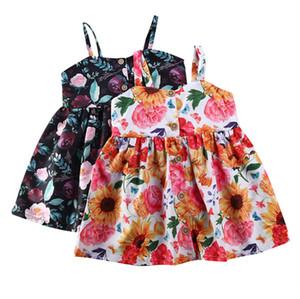 بنات ملابس الصيف اللباس 2020 الوليد طفلة بلا أكمام الزهور زر اللباس هوليداي بيتش سليم فستان الشمس 6M-4T