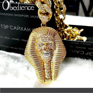 24K gold-plated Egyptian pharaoh copper crystal zircon Diamond Pendant Necklace vacuum gold-plated fashion jewelry popular Necklace